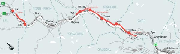Planprogrammet gjelder for delstrekningene Øyer – Frya på omtrent 40 kilometer og Sjoa – Otta/Solhjem på omtrent ti kilometer. Illustrasjon: Nye Veier