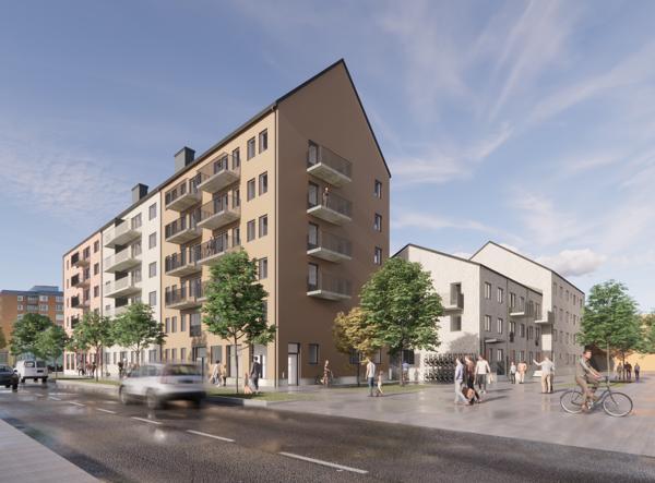 AF Gruppens datterselskap HMB Construction har inngått avtale om å bygge 121 leiligheter for Riksbyggen i sentrum av Gävle. Illustrasjon: Riksbyggen