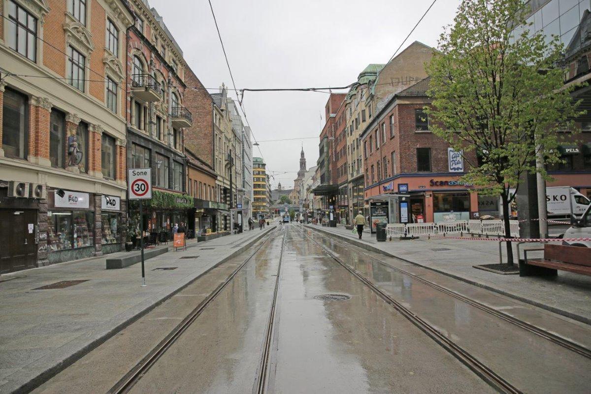 Storgata er klar for å ta imot trikker igjen. Foto: Bymiljøetaten i Oslo