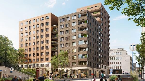 Betonmast bygger boligprosjektet Gladan i Stockholm. Illustrasjon: Arkitekt Semrén & Månsson