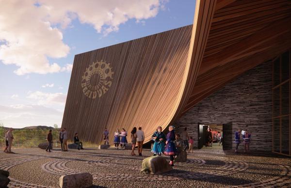 Teater med mulig adkomst fra forplass. Illustrasjon: Econor med Snøhetta Oslo AS og 70°N arkitektur, Tromsø