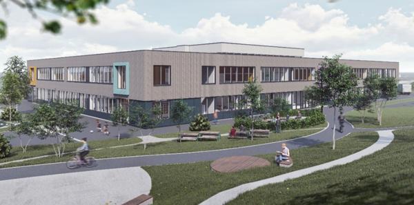 Nye Vikhammer ungdomsskole og kulturarena. Illustrasjon: LINK
