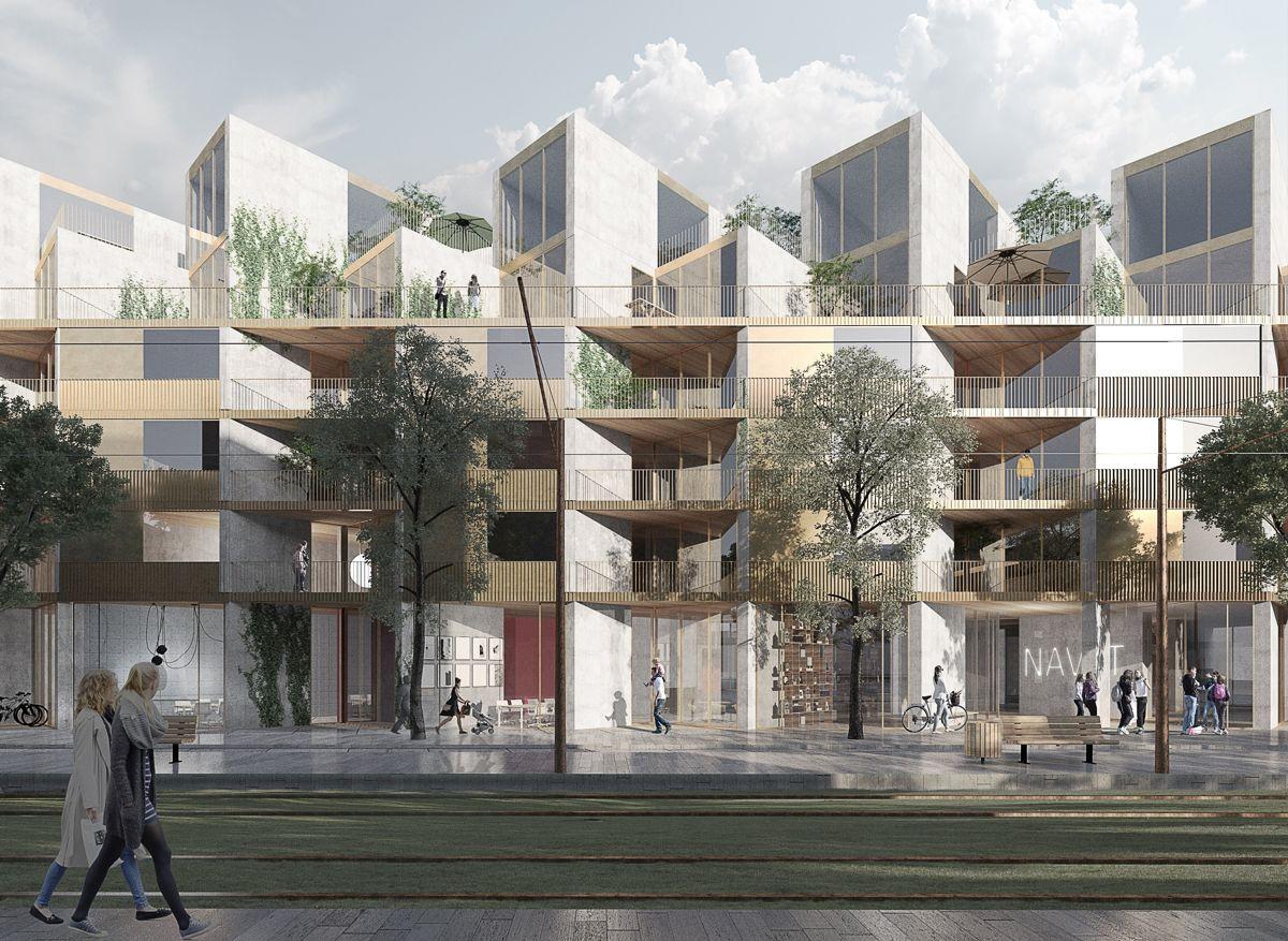 AF skal bygge boliger på vegne av OBOS Kärnhem i den nye bydelen Brunnshög, nær de verdensledende forskningsmiljøene i Lund. Illustrasjon: OBOS Kärnhem