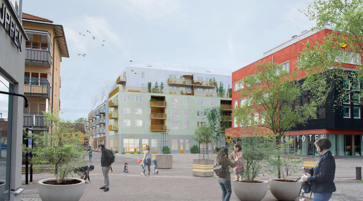 HMB Construction, datterselskap i AF Gruppen, skal bygge nye boliger sentralt i Knivsta sør for Uppsala, på oppdrag fra Genova og Redito. Ill. AF Gruppen