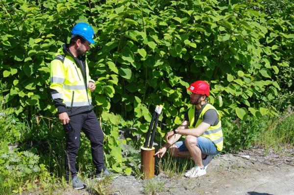 Ved Saksvik Renseanlegg i Malvik kommune har Asplan Viak allerede gjort tester av en energibrønn i berg. Prosjektansvarlig Tom André Havnes (til venstre) og prosjektleder Sondre Gjengedal i NGI sier de er spente på hvordan energipelene i BEAR-prosjektet vil kunne prestere sammenlignet med denne. Foto: NGI