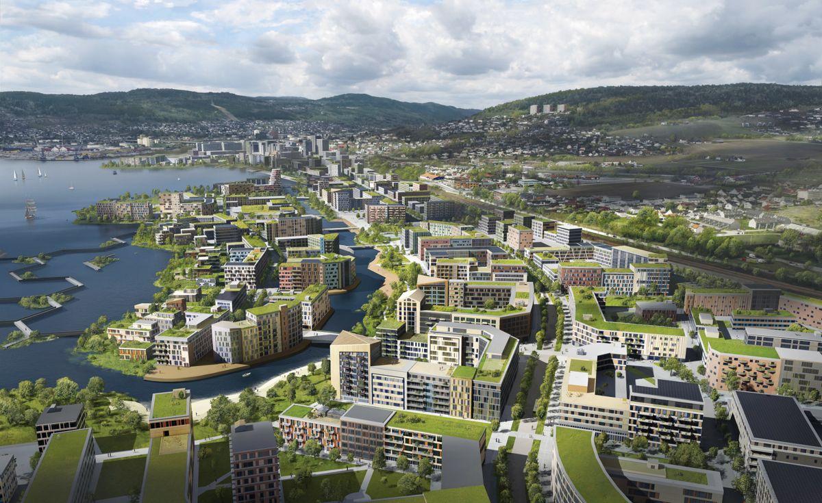 Slik kan Lier og Drammen bli seende ut fra øst mot vest – om flere tiår. Illustrasjon: Link arkitektur