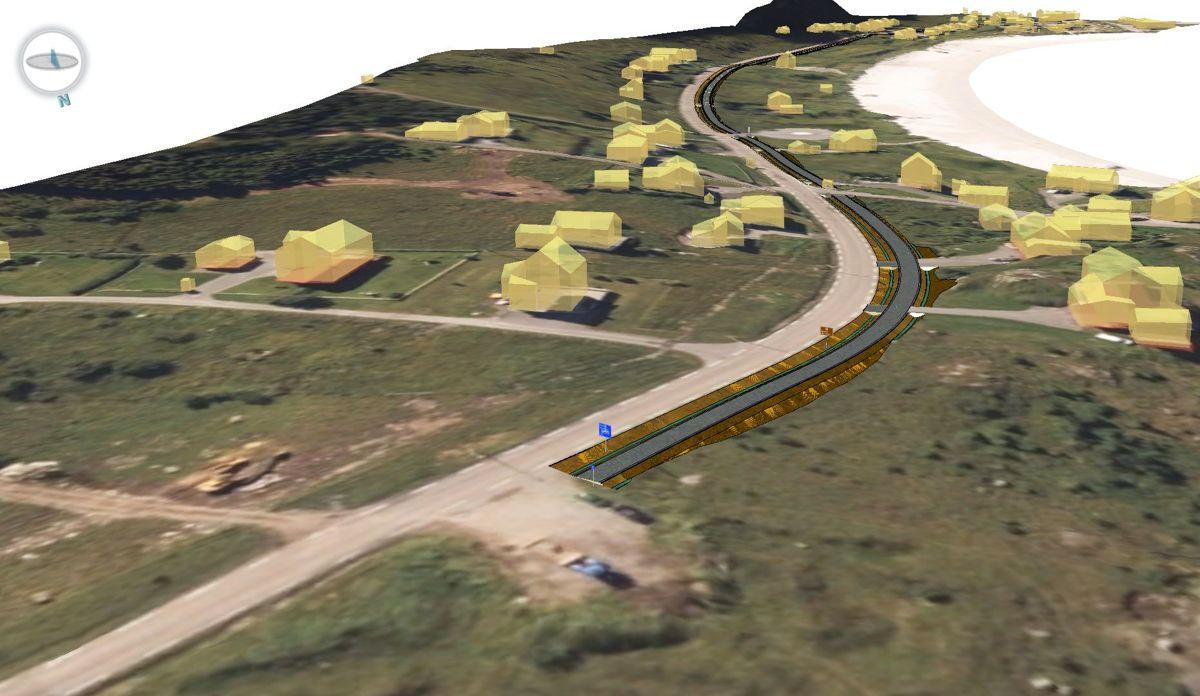 Statens vegvesen og Flakstad kommune samarbeider for å få realisert gang- og sykkelvei på E10 Ramberg i Lofoten i løpet av året. Illustrasjon: Sweco