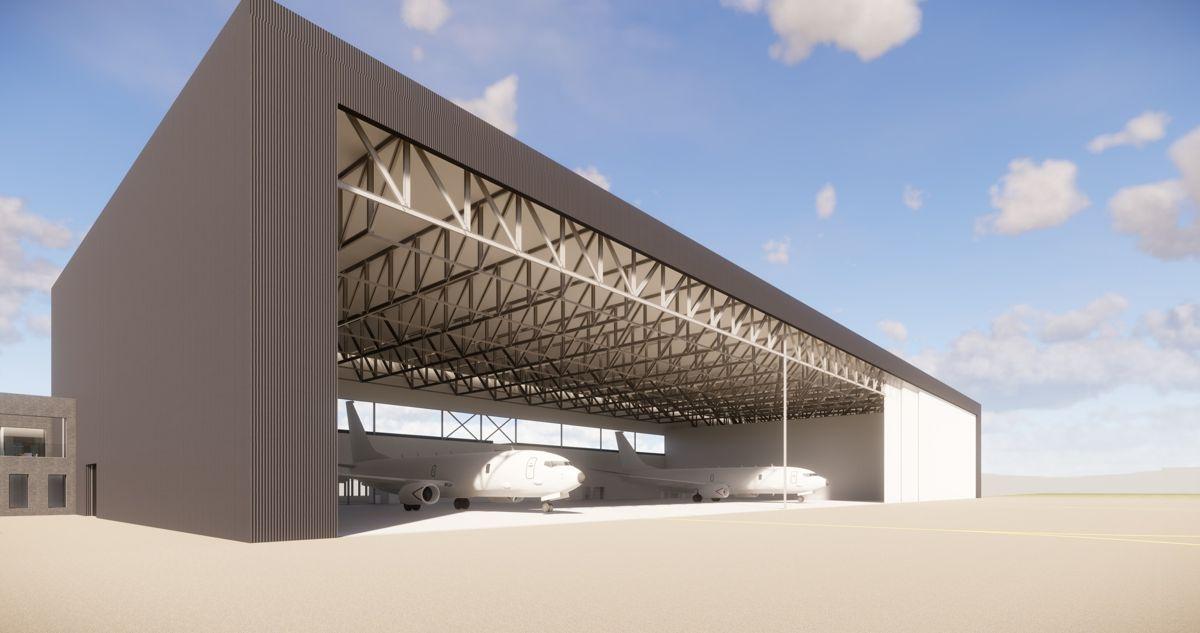 Ny hangar for militære overvåkningsfly P-8. Illustrasjon: Forsvarsbygg.