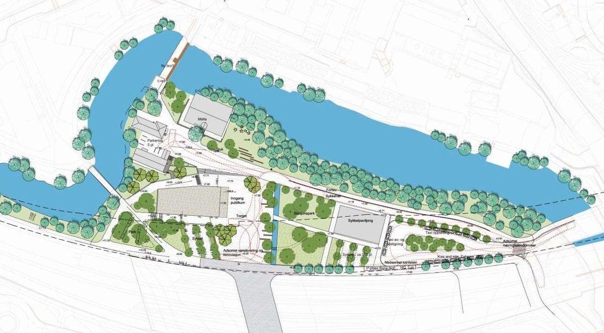 Landskapsplan for nye Lysaker stasjon på Fornebubanen. Illustrasjon: Fornebubanen