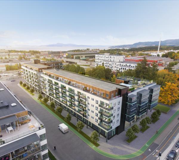 På Liljendal/Falkenborg erTrym Bolig klare til å sette i gang med et prosjekt med 133 leiligheter, omtrent 2.350 kvadratmeter næring og parkering, men prosjektet stoppes av manglende skolekapasitet i området. Illustrasjon: Arqsix