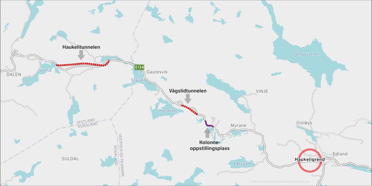 Kolonneoppstillingsplassen kommer på E134 mellom Myrane og Kjelavatn. Illustrasjon: Statens vegvesen