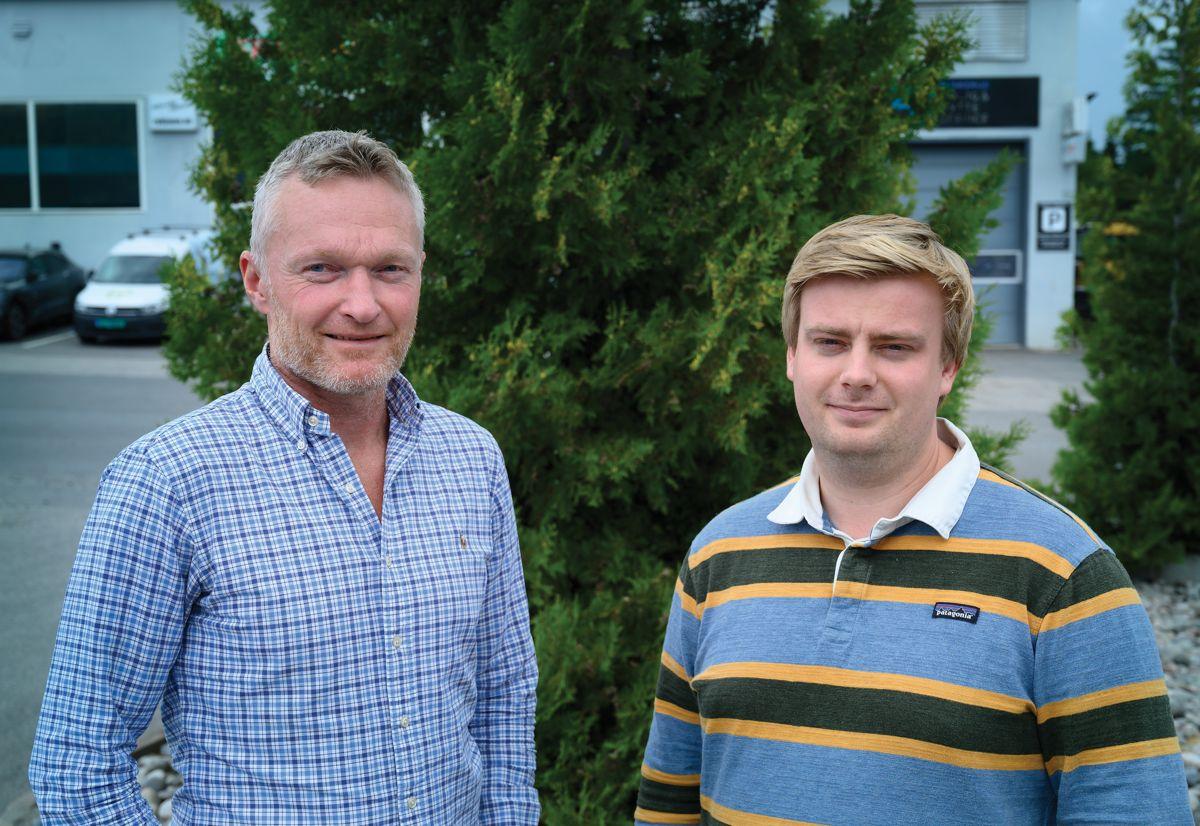 Daglig leder Paal Engebretsen og prosjektleder Martin Holte i Mesterbygg Ringerike, 7. august 2021. Foto: Trond Joelson, Byggeindustrien