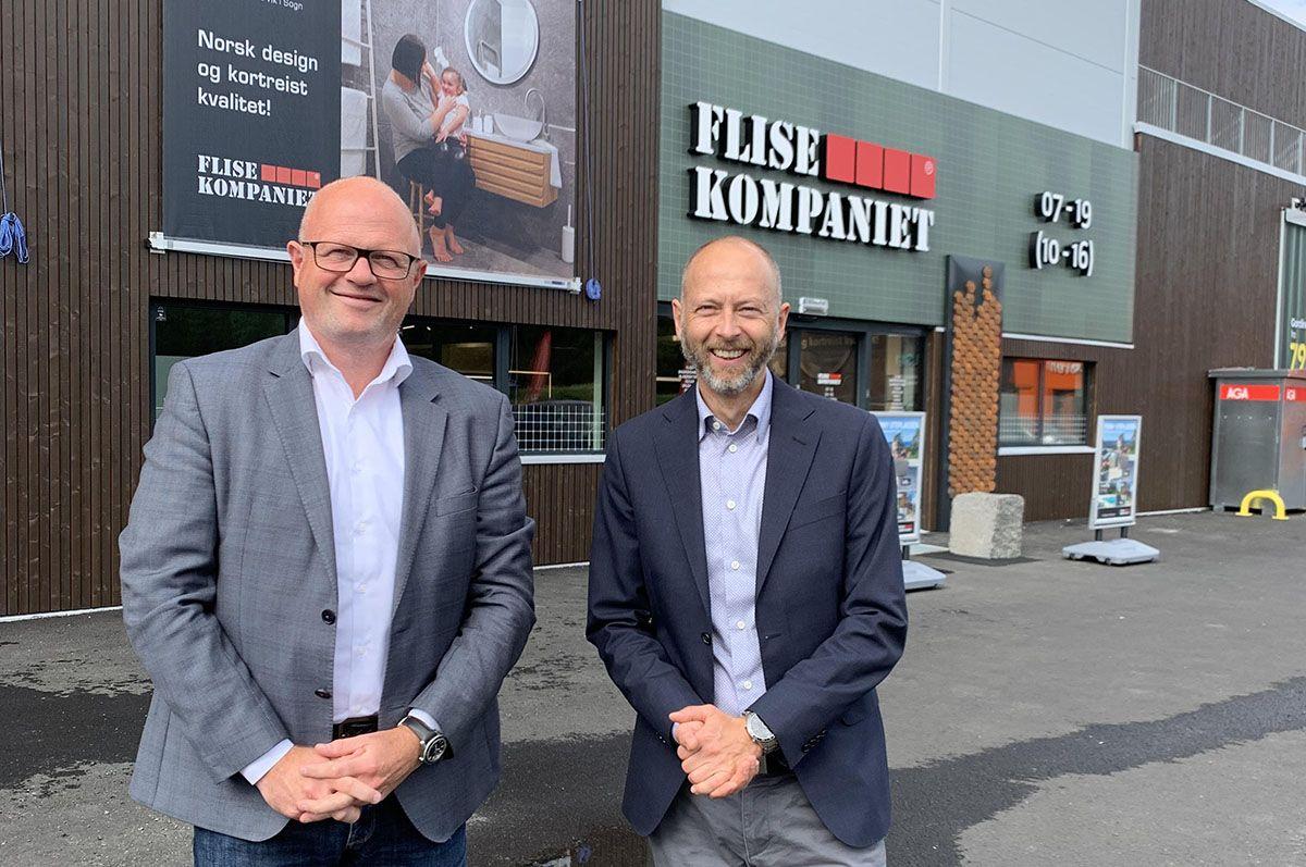 – Vi sikter på å ta markedsandeler i både privat-, proff-, arkitekt- og prosjektmarkedet, sier administrerende direktør i selskapet, Aleksander Pedersen (t.h). Her sammen med Lars Bergersen (t.v), skal lede satsingen mot arkitekt og prosjekt.