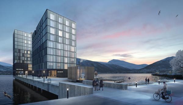 The Front i Tromsø planlegges med 320 boliger ute i sjøen. Illustrasjon: AT Plan & Arkitektur
