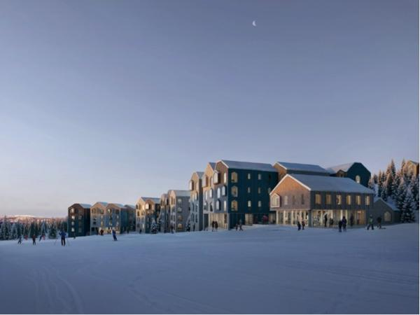 FAVN Klyngetun skal bygges helt i toppen av gondolbanen. Totalt består prosjektet av 4 byggetrinn. Illustrasjon: Reiulf Ramstad Arkitekter/ Filippo Bolognese Images