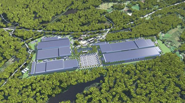 Morrow Batteries planlagte nye fabrikk i Arendal. Illustrasjon: Morrow Batteries / Exyte
