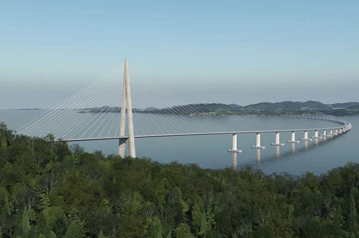 Ny bru over Bjørnafjorden på veistrekningen E39 Stord – Os, Ådland – Svegatjørn (Hordfast) blir verdens lengste flytebru. Illustrasjon: Statens vegvesen