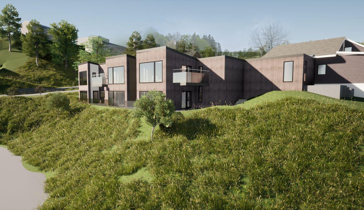Slik kan Nedre Totland bofellesskap se ut når prosjektet etter planen skal stå ferdig i 2025. Prosjektet skal gjennom en regulerings- og prosjekteringsprosess og endelig form og uttrykk vil endres noe.