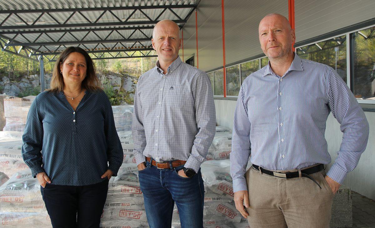 Innen få år skal salgssjef Kristin Greaker Mobakk, daglig leder Jørn Teksum og FOU-leder Bjørn Bonsak, sammen med resten av de ansatte i Hey`di, øke omsetningen fra rundt 360 millioner til over en halv milliard kroner.