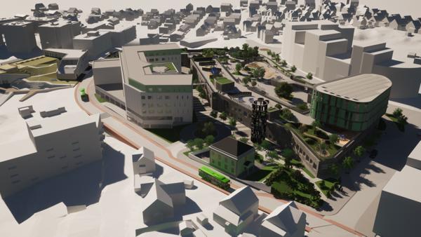 KVARTAL. Lervigskvartalet omfatter byggingen av en tre parallellers barneskole, en barnehage med seks avdelinger, flerbrukshall, bydelssenter, dagligvarebutikk, kontorer og parkeringsanlegg. Prosjektet får et bruttoareal på cirka 25.000 kvadratmeter, beregnet oppstart på byggearbeidene er i mai 2022.