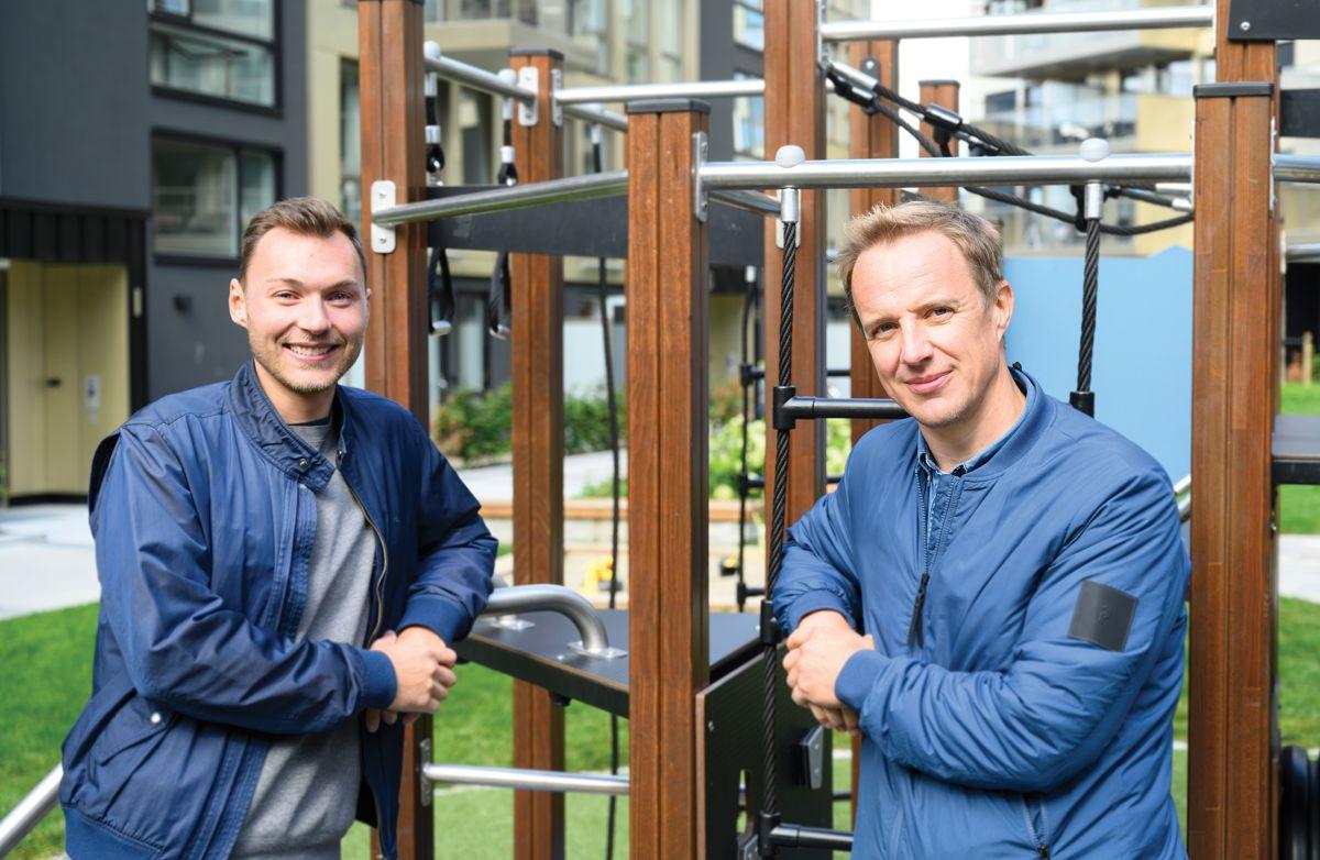 Veidekkes prosjektingeniør Roy-Remi Hopland og prosjektleder i Nordr Bolig, Johan Arvidsson. 27.8.2021. Foto: Trond Joelson, Byggeindustrien
