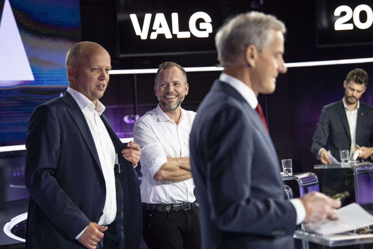 Trygve Slagsvold Vedum, Sp, Audun Lysbakken, SV og Jonas Gahr Støre, Arbeiderpartiet på partilederdebatt på TV2. tidligere i valgkampen. Foto: Marit Hommedal / NTB
