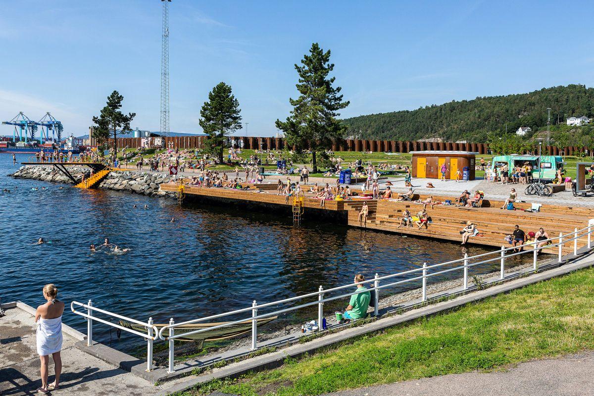 Bekkelagsbadet beskrives som en del av Oslos havneområder er gjort om til friluftsområde til glede for fellesskapet. Foto: Tove Lauluten