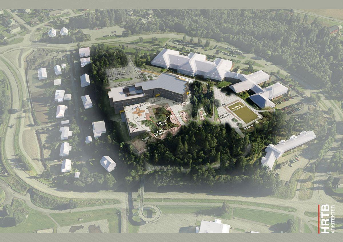 Slik skal Nye Fjerdingby skole bli seende ut når den står ferdig neste sommer. Illustrasjon: HRTB Arkitekter