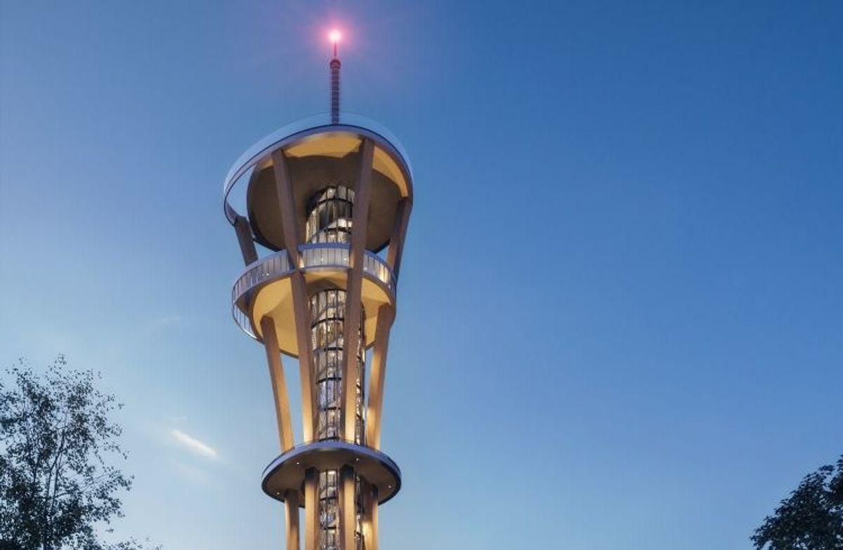 Verdensrekorden for utkikkstårn i tre jaktes i den tyske byen Kerpen. Illustrasjon: Bernd Pieroth