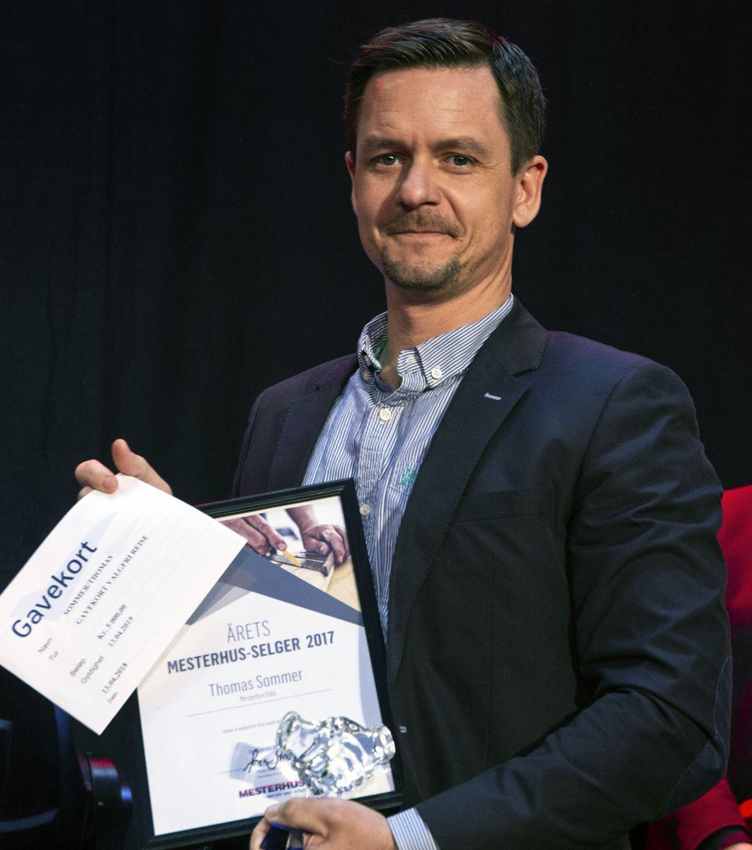 Thomas Sommer, fra Mesterhus Oslo, vant prisen for årets selger EAT.