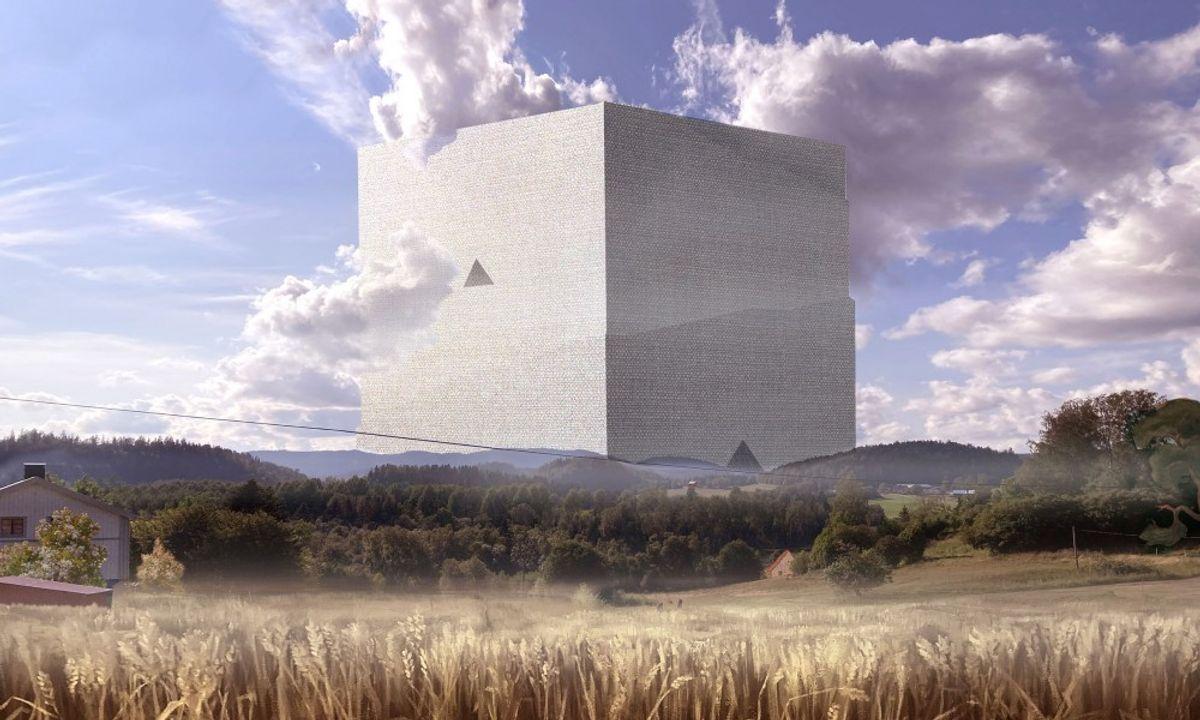 Et lager på omtrent én kubikkilometer tømmer vil romme ett års svensk tømmerproduksjon og være verdens største menneskeskapte karbonlager. Illustrasjon: Anders Berensson Architects
