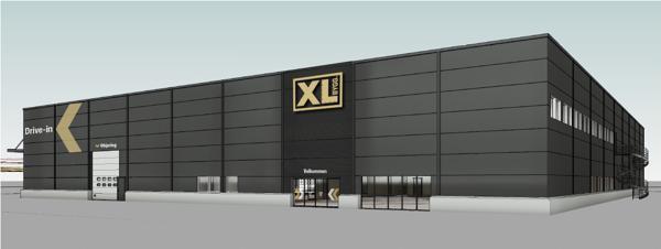 XL-Bygg Midttømme bygger nytt byggevarehus i Melhus. Illustrasjon: Jon Anders Birkeland / XL-Bygg
