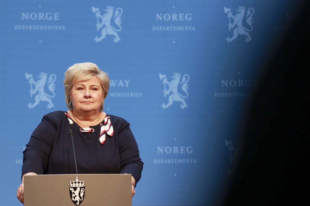 Statsminister Erna Solberg (H) kunngjorde fredag at Norge snart skal gjenåpnes. Foto: Beate Oma Dahle / NTB