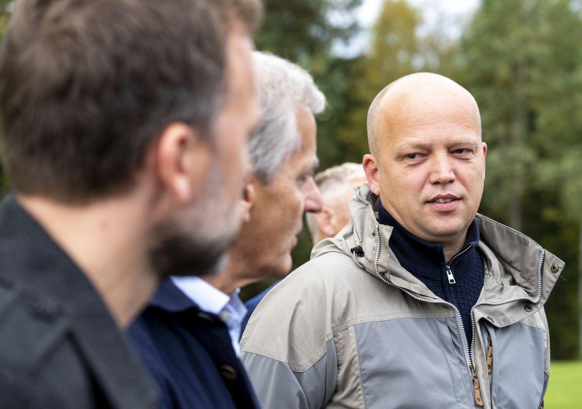 Sonderingene mellom SV-leder Audun Lysbakken, Ap-leder Jonas Gahr Støre og Sp-leder Trygve Slagsvold Vedum fortsetter mandag. Foto: Torstein Bøe / NTB