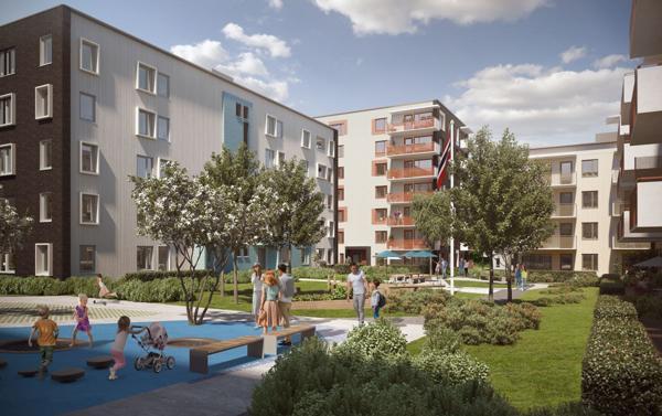I boligprosjektet Bergerløkka på Vestre Billingstad i Asker leverte JM sin første svanemerkede leilighet i 2020. Illustrasjon: Spor Arkiktekter