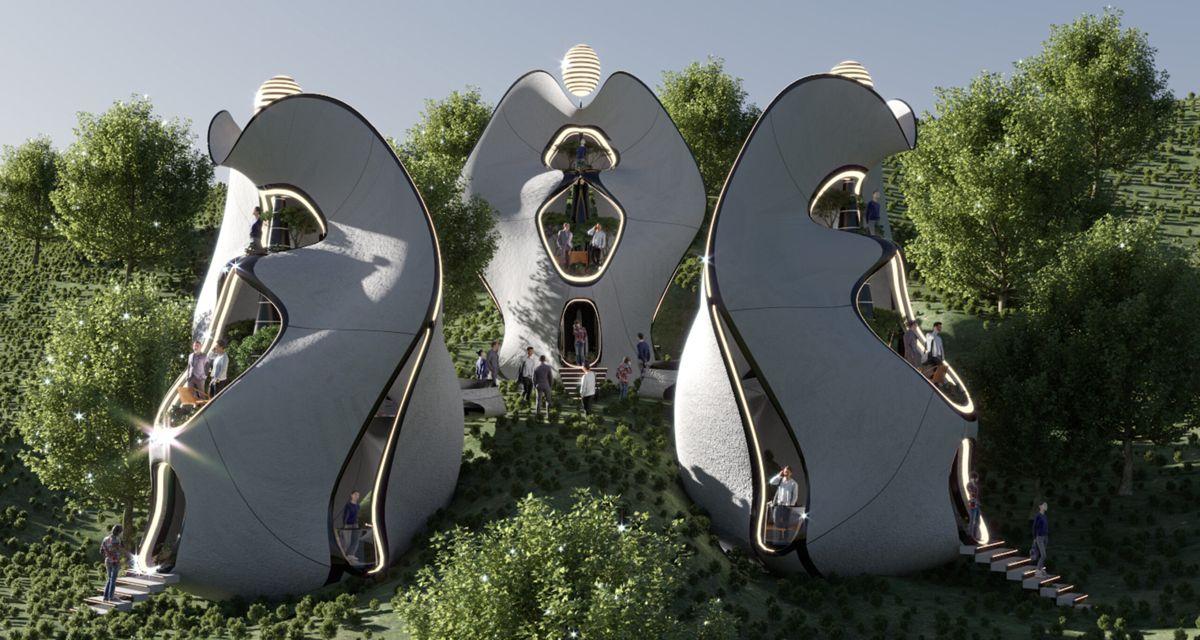 Det italienske 3D-printprosjektet Madre Natura skal være det første i sitt slag. Illustrasjon: MASK Architects