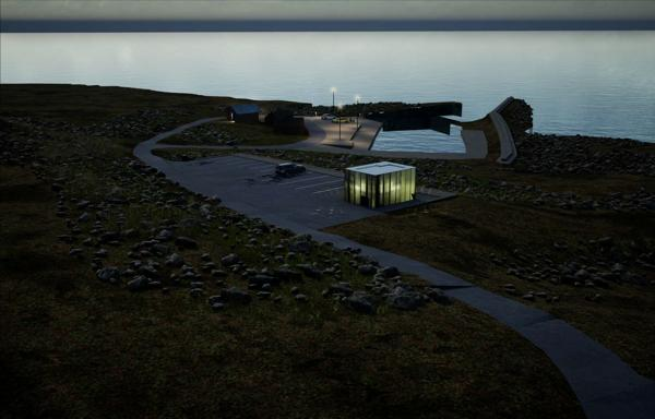 Servicehuset Lanternen, Madland havn, Nasjonal turistveg Jæren. Illustrasjon Haugen og Zohar Arkitekter