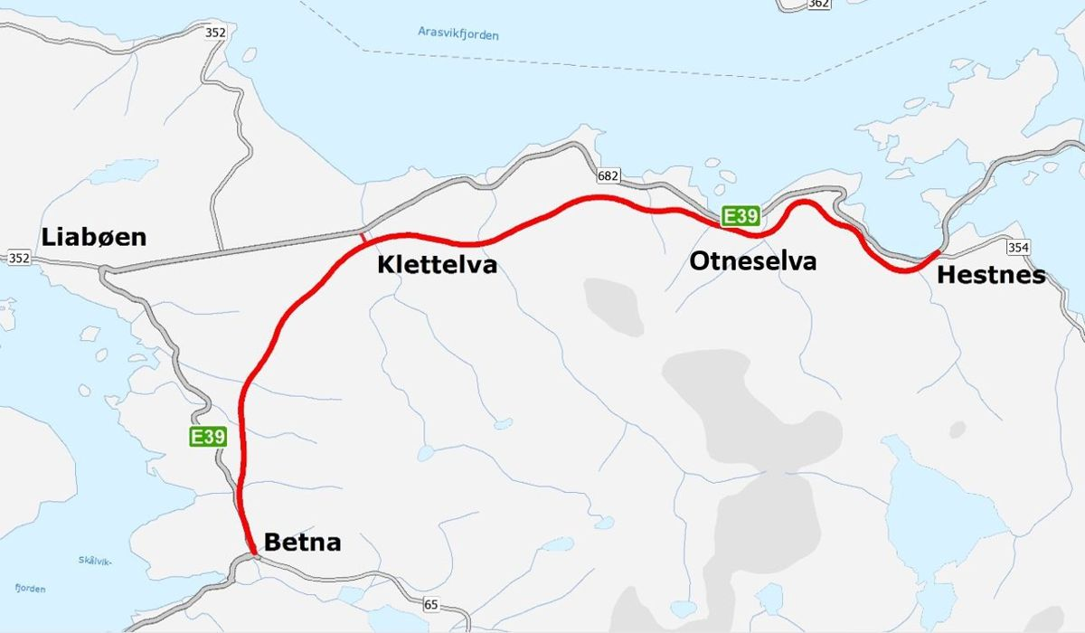 Bertelsen & Garpestad er valgt som entreprenør for strekningen Betna - Hestnes.