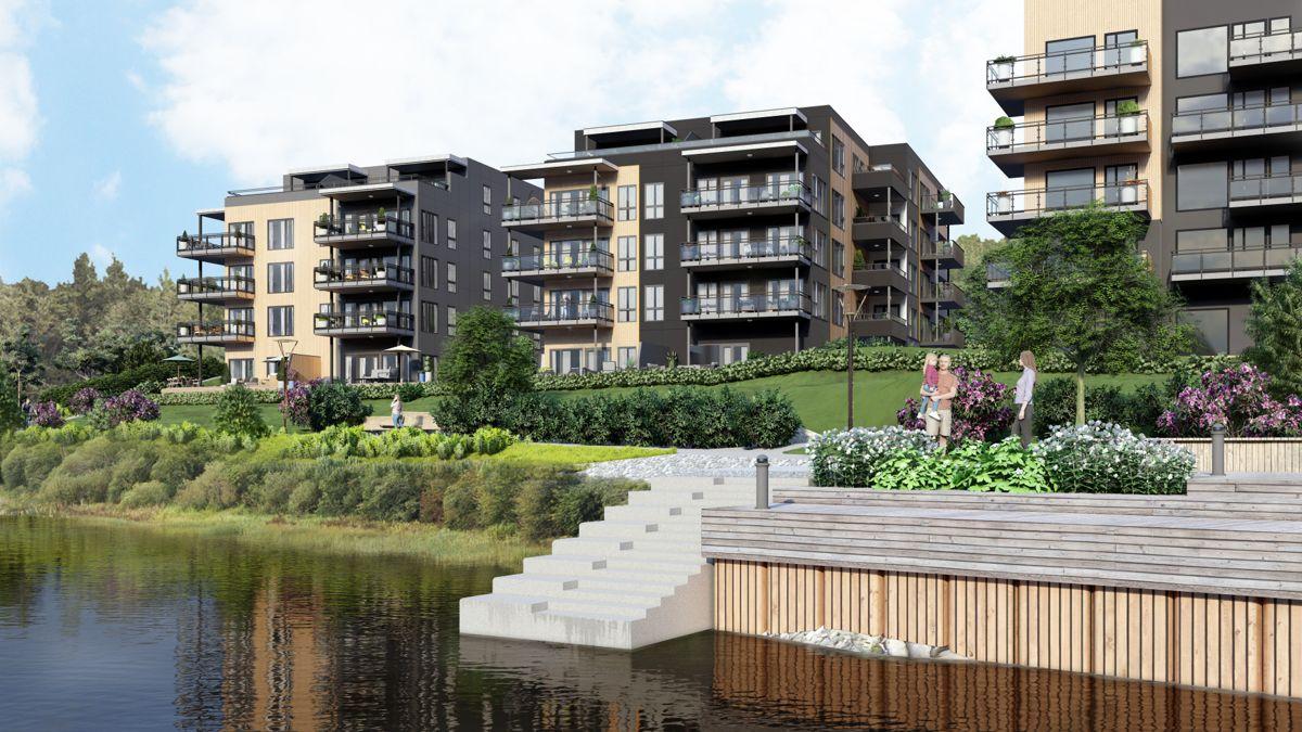 Peab skal bygge tre nye boligblokker med totalt 46 leiligheter på Osebakken i Porsgrunn. Ill. PV arkitekter
