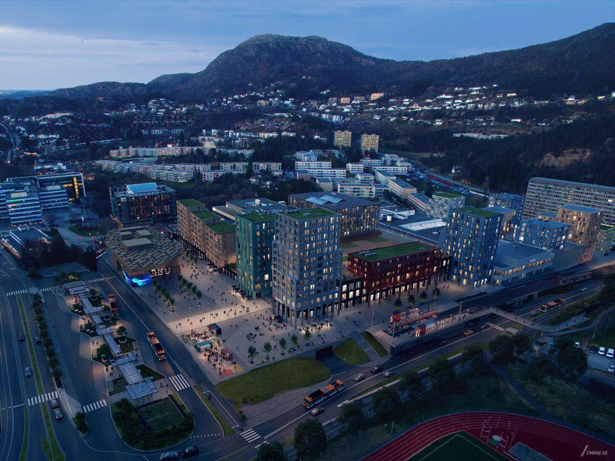 Oasen senter i Fyllingdsalen i Bergen er et av Citycons utviklingsprosjekter. Illustrasjon: TMRW/Mad