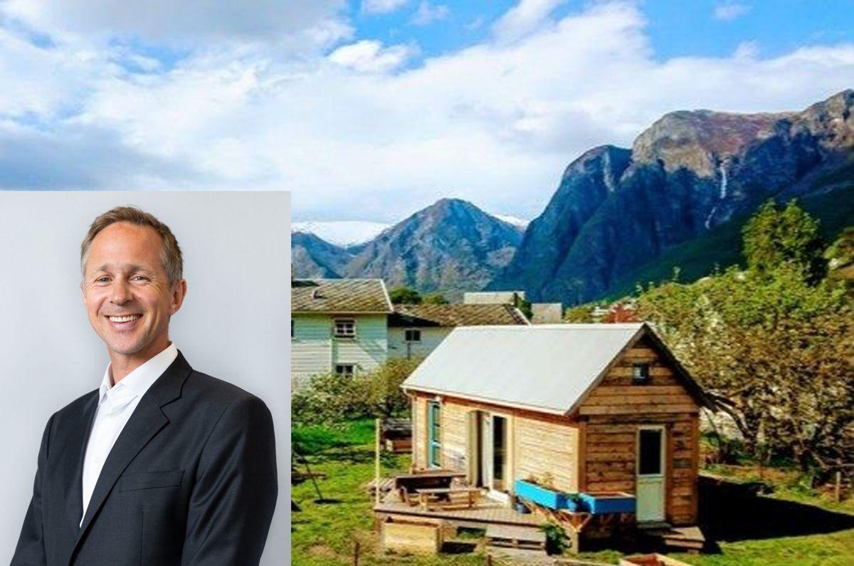 Advokat og partner Jarle Edler i Bing Hodneland advokatselskap her sammenstilt med prosjektet Minihus Aurland i Aurland av Gøran Johansen.
