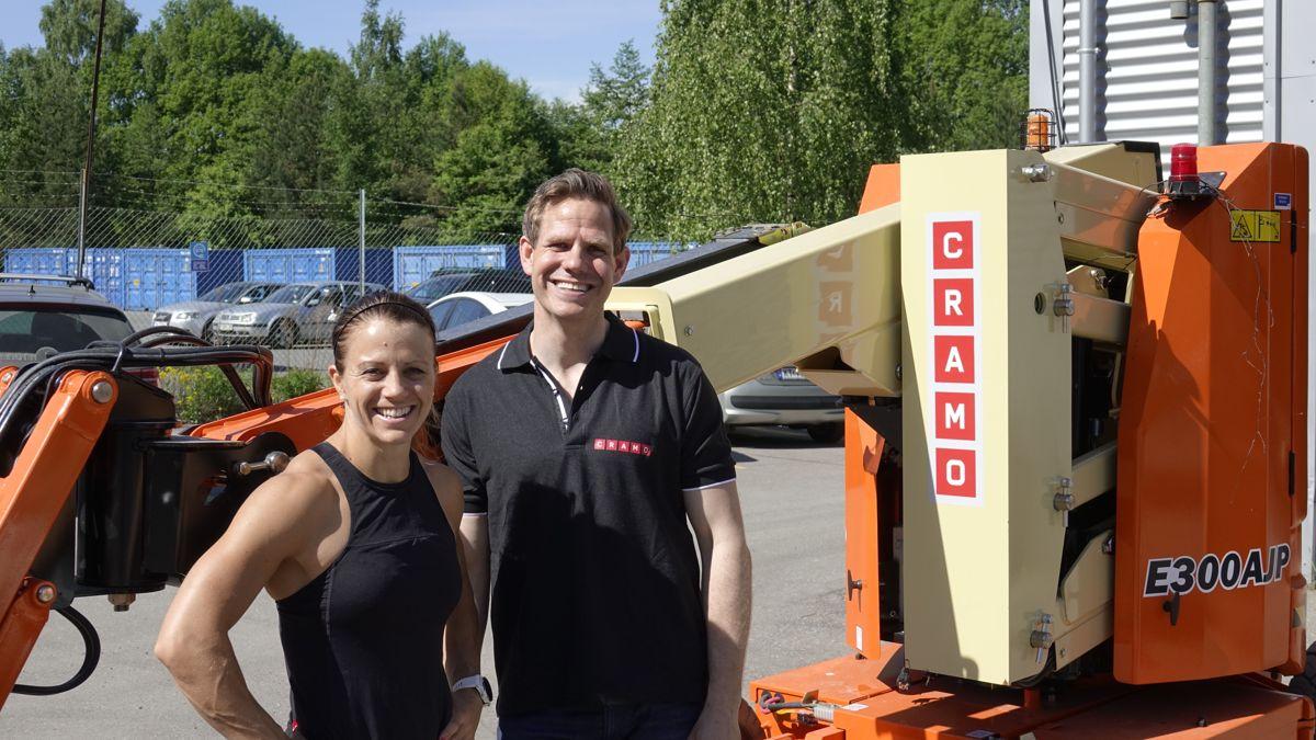 Kristin Holte og Thomas Astrup, salgs- og markedsdirektør i Cramo. Foto: Cramo
