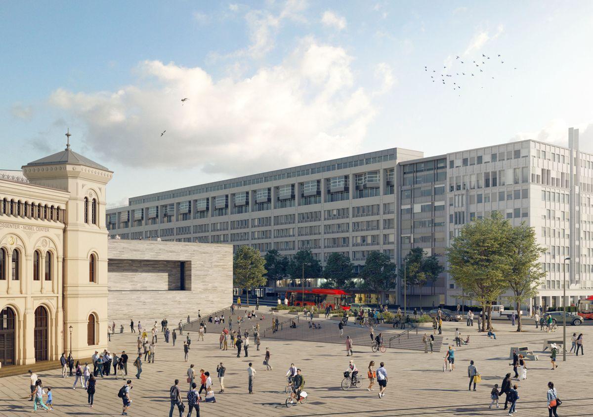 Forplassen foran nytt nasjonalmuseum i Oslo, ved siden av Nobels Fredssenter og Dronning Mauds gate. Illustrasjon: Tegmark/Statsbygg