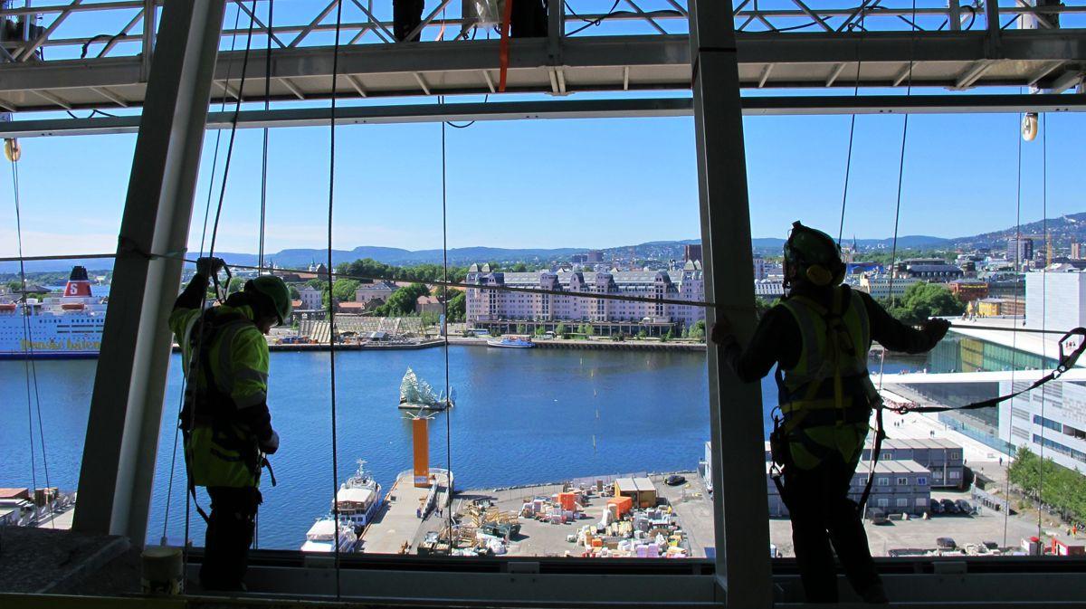 Fra det skråstilte utsiktspunktet, også kalt miradoren, i toppen av bygget. Foto: Kultur- og idrettsbygg Oslo KF
