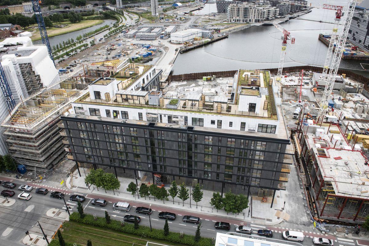 Oslo S Utvikling er i ferd med å avslutte arbeidet med Eufemias Hage i Bjørvika, mens byggearbeidene rundt fortsetter for fullt. Foto. Katrine Lunke