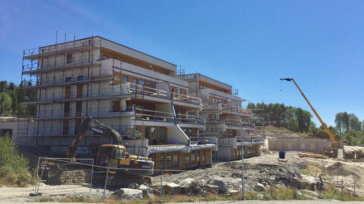 Nygård terrasse, Askim. Bygg 1 ferdig i september, bygg 2 er satt igang. Foto: Kent Remi Viken, Byggservice Askim AS