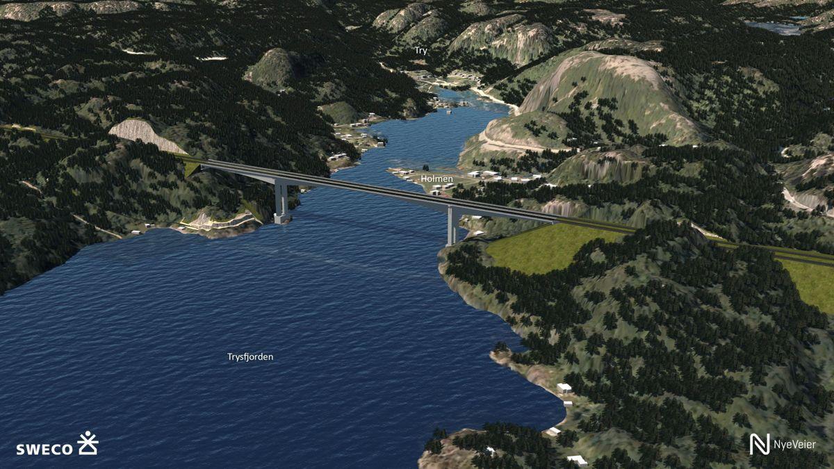 Trysfjordbrua med en lenge på 550 meter og en seilingshøyde på 60 meter sørger for å lede trafikken på ny E39 bort fra det rasutsatte strekningen langs dagens E39 ved Trysfjorden og vinterutsatte Trybakken.