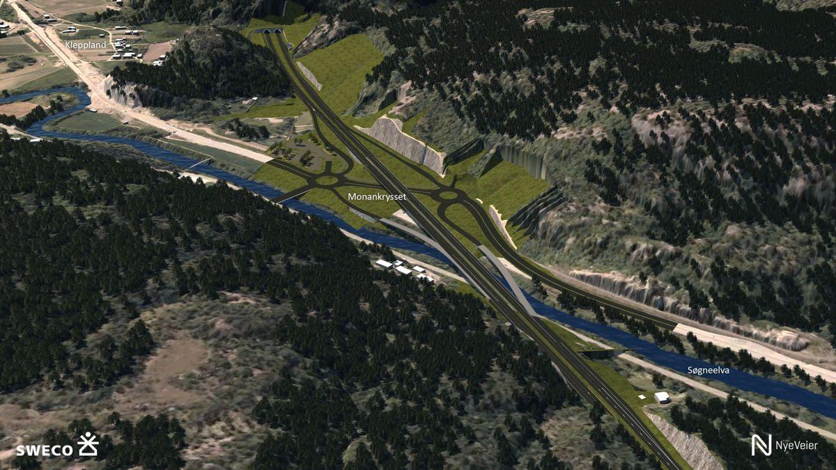 Det skal bygges flere motorveikryss for å lede trafikken effektivt fra dagens E39 og over på ny. Bildet viser kryssløsning ved Monan i Søgne.