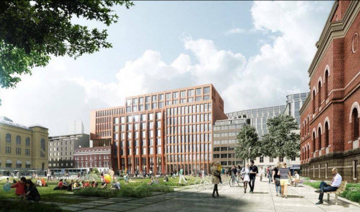 Slik skal det nye jurdiske fakultet ved Universitet i Oslo se ut når det står ferdig i 2020. Det er lagt vekt på samspill mellom gammel bebyggelse og ny arkitektur, og det å et område med aktive passsjer og gatetun. Illustrasjon: MAD