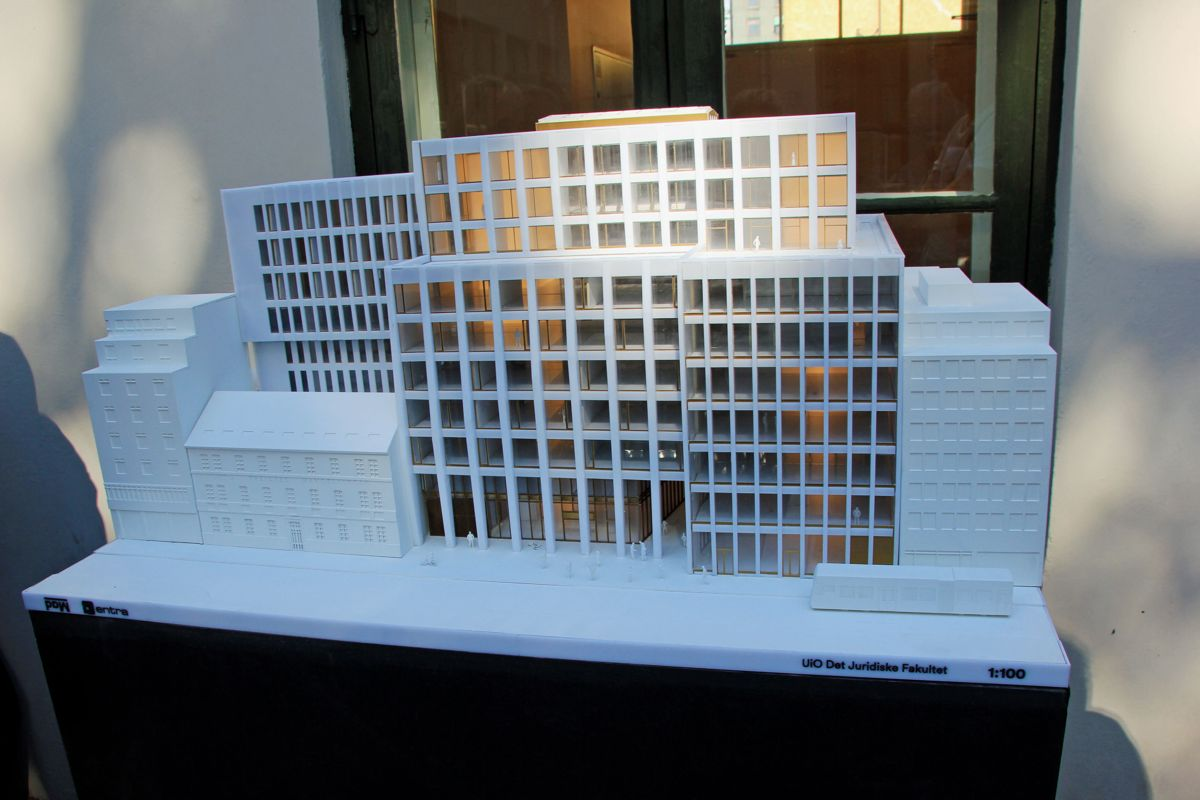 Modell av det nye juridiske fakultetet ved Universitetet i Oslo - Tullinkvartalet. Foto: Svanhild Blakstad